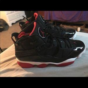 Jordan ring 6 black and red size 10